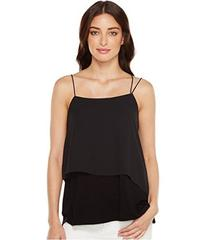 Vince Camuto Mix Media Asymmetrical Overlay Tank T