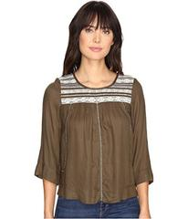 Lucky Brand Olive Embroidered Top