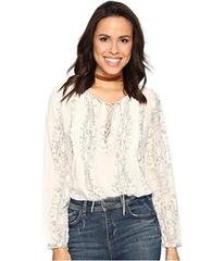 Lucky Brand Lace-Up Metallic Top