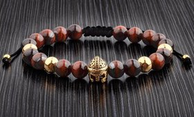 Men's Spartan and Metal Natural Stone Beaded Brace