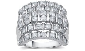 2.04 CTTW Diamond Anniversary Ring in Sterling Sil