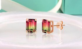 Emerald Cut Watermelon Crystal Stud Earrings in 18