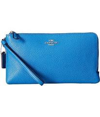 COACH Polished Pebbled Double Zip Wallet