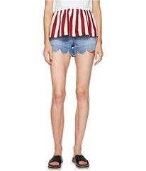 RED VALENTINO Stone Washed Scallops Embroidery Sho