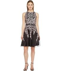 Tahari by ASL Embroidered Mesh Fit and Flare Dress