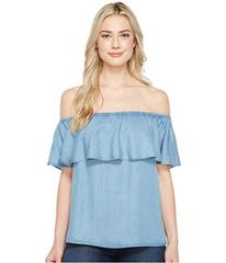 7 For All Mankind Off Shoulder Ruffled Denim Top