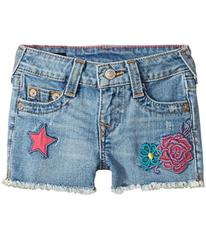 True Religion Bobby Patched Raw Edge Shorts in Sai