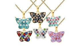 Kids' Crystal Butterfly Pendants