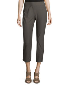 Eileen Fisher Stretch-Crepe Side-Slit Ankle Pants,