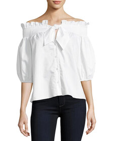 Parker Spade Off-the-Shoulder Button-Front Poplin