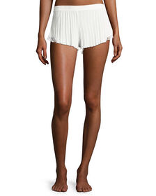Skin Ribbed Lace-Inset Lounge Shorts