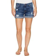 7 For All Mankind Relaxed Mid Roll Shorts w/ Destr