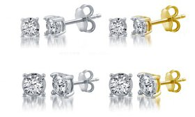 1/10–1 CTTW Diamond Stud Earrings in Silver or Gol
