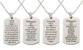 Pink Box Holy Scripture Tag Necklace in Solid Stai
