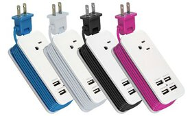 4-Port USB and Single AC Outlet Charging Station