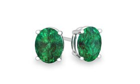 2.00 CTTW Emerald Oval Cut Studs in Sterling Silve