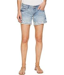 Stetson Denim Shorts with Floral Embroidery On Hem