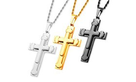 Men's Triple Layered Cross Pendant by Crucible