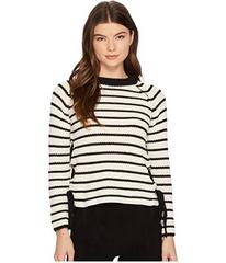 ROMEO & JULIET COUTURE Striped Crew Neck Knit Swea
