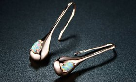 Peermont White Fire Opal Teardrop Earrings in 18K