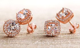 Lesa Michele Rose Gold Plated Halo Studs with Swar