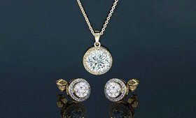 Round Halo Pendant and Earrings Made with Swarovsk