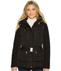 French Connection Cinched Waist Puffer with Faux F