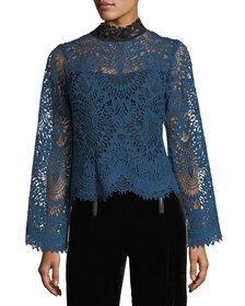 Nanette Lepore Audrey Mock-Neck Lace Top