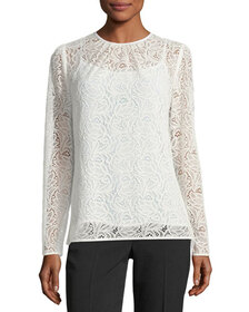 MICHAEL Michael Kors Long-Sleeve Stretch-Lace T-Sh