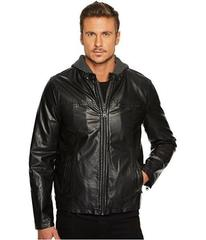 Levi's® Hooded Faux Leather Racer Jacket with