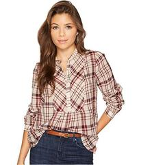 Lucky Brand Plaid Peasant Top