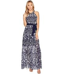 Vince Camuto Printed Chiffon Halter Maxi w/ Inset