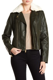 French Connection Faux Fur Collar Moto Jacket