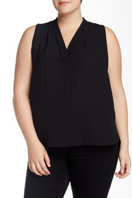 Vince Camuto Pleated V-Neck Blouse (Plus Size)