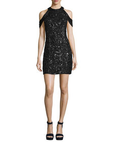 Parker Black Misty Sequin Mini Cocktail Dress
