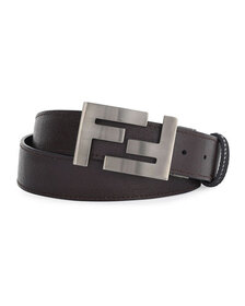 Fendi Double-F Buckle Textured Leather Belt, Brown