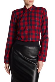 Splendid Metallic Stitch Plaid Shirt