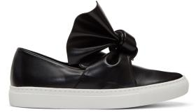 Cédric Charlier Black Bow Slip-On Sneakers