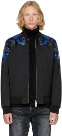 Dsquared2 Black Wool Camouflage Bomber Jacket