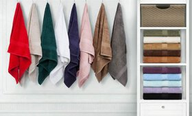900GSM Combed-Cotton Hand or Face Towel Set (4- or