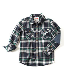 Appaman Patched-Elbow Flannel Shirt, Size 2-10
