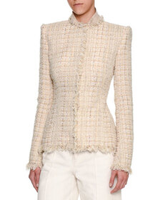 Alexander McQueen Metallic Tweed Fringe-Trim Jacke