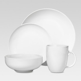 Porcelain 16pc Coupe Dinnerware Set White - Thresh