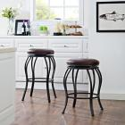 Kemper Swivel Counter Stool Black with Brown Cushi