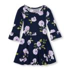 Toddler Girls Long Ruffle Sleeve Floral Print Knit