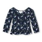 Toddler Girls Long Sleeve Floral Printed Peplum To