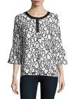Karl Lagerfeld Floral Three-Quarter Bell Top