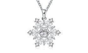 Snowflake Pendant with Sterling Silver O Ring Neck