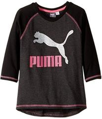Puma 3/4 Sleeve Back Scoop Hem Top (Big Kid)