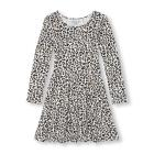Girls Long Sleeve Leopard Print Knit Skater Dress